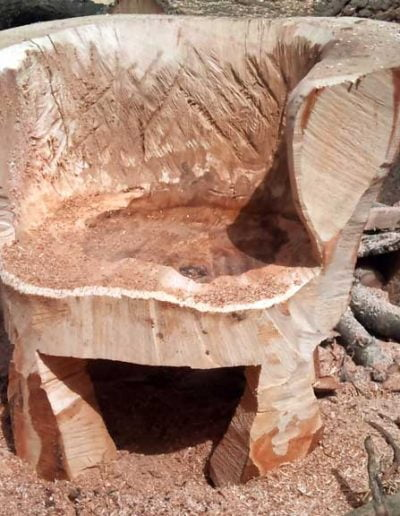 A chainsaw-carved wooden chair by Darwin Tree Services