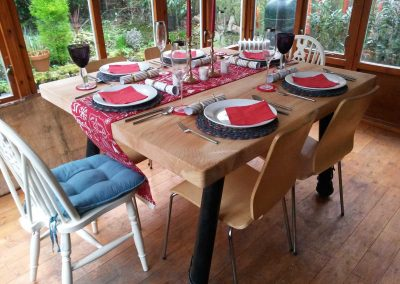 Handmade cedar dining table